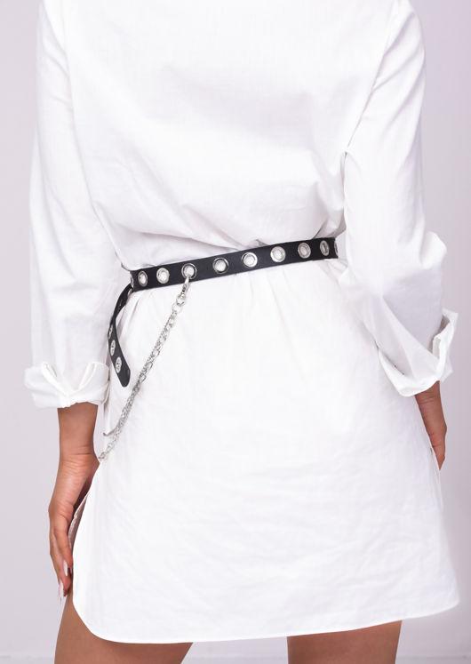 Pu Faux Leather Eyelet Chain Loop Belt Black