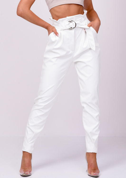 Pu Faux Leather High Waisted Belted Trousers White