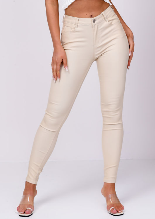 PU Faux Leather High Waisted Stretch Skinny Jeans Beige