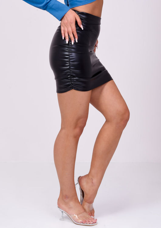 Pu Faux Leather Ruched Mini Skirt Black