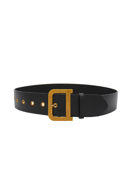 Pu Faux Leather D Square Buckle Belt Black