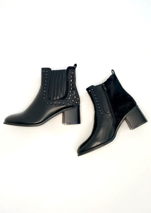 Pu Faux Suede Studded Embellished Chelsea Ankle Boots Black