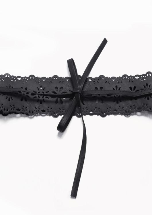Pu Floral Patterned Front Tie Lace Waist Belt Black