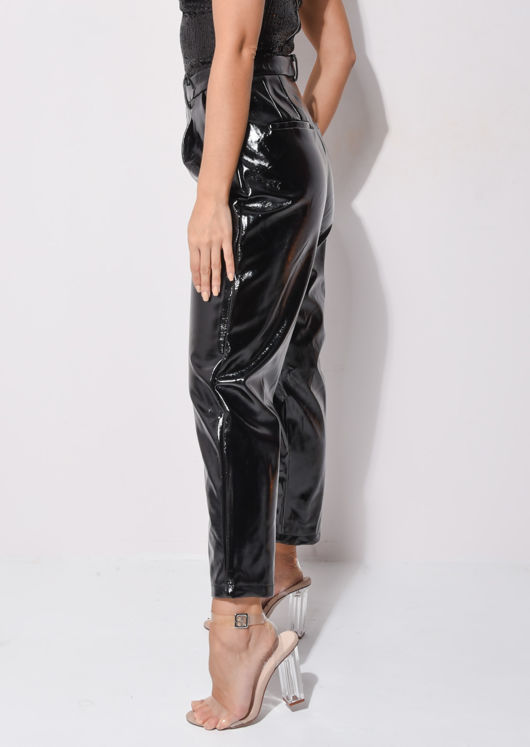 PU High Waisted Slim Leg Trousers Black
