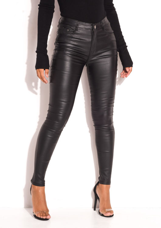 PU High Waisted Stretch Skinny Jeans Black
