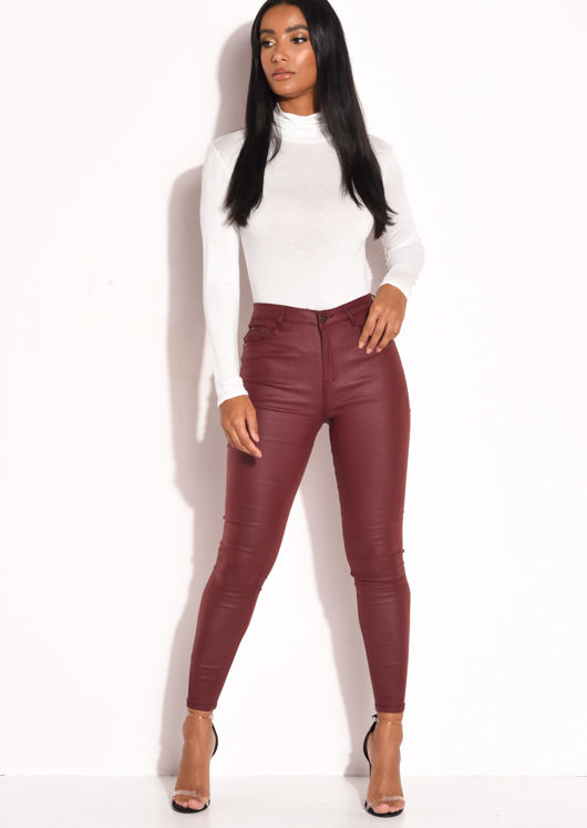 PU High Waisted Stretch Skinny Jeans Burgundy Red