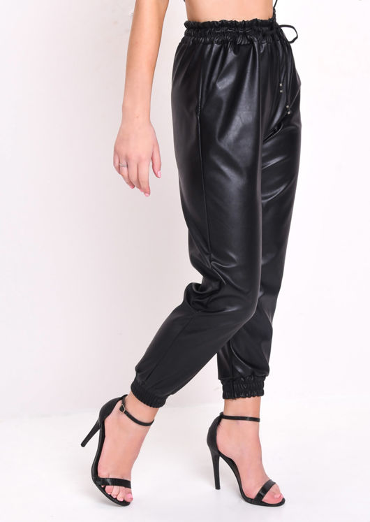PU Leather Look Pocket Detail Utility Jogger Trousers Black