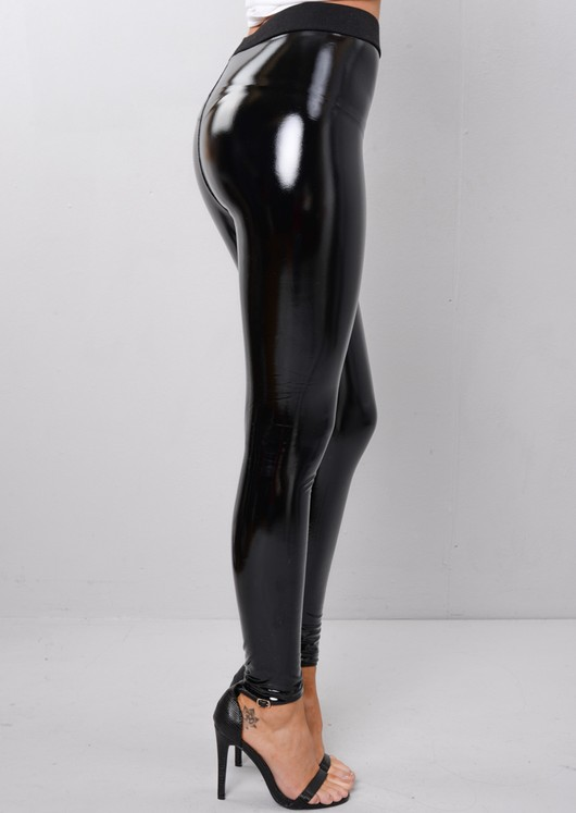 PU Vinyl Black High Shine Legging Trousers