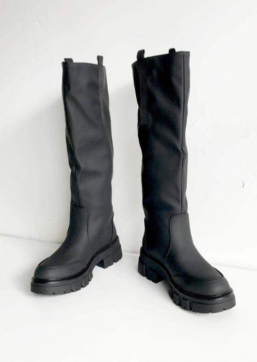 Pu Wide Fitted Cleated Knee High Boots Black