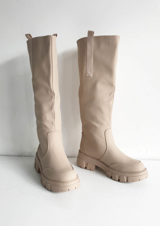 Pu Wide Fitted Cleated Knee High Boots Beige