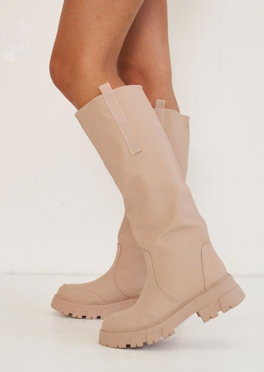Pull On Rubberised Cleated Knee High Rain Boots Beige