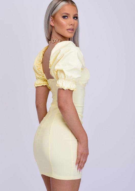 Puff Frill Shoulder Bodycon Mini Dress Yellow