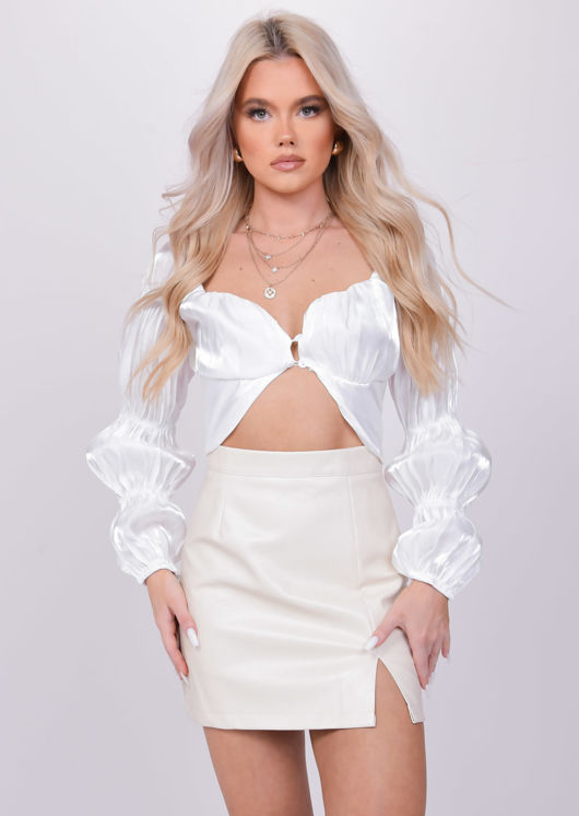 Puff Long Cupped Sleeve Square Shirt Crop Top White