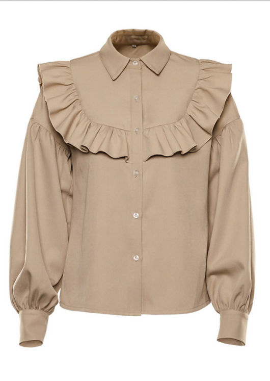 Puff Long Sleeve Frilled Waffle Shirt Blouse Top Beige