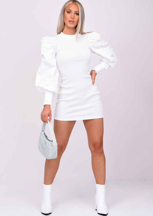 Puff Long Sleeve Ribbed Bodycon Dress White