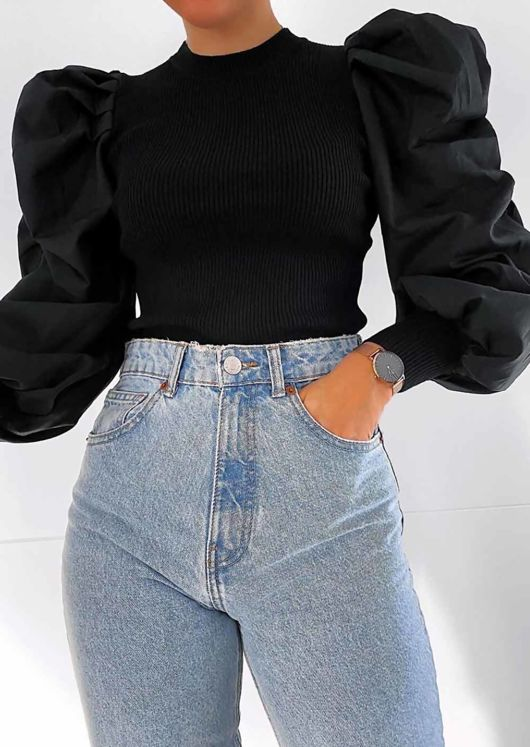 Puff Long Sleeve Ruched Ribbed Top Black