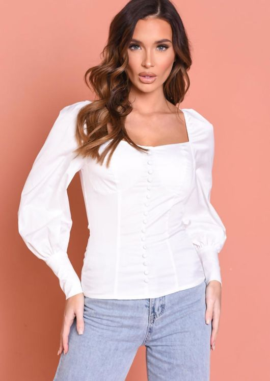 Puff Sleeve Front Button Detail Shirred Blouse Top White
