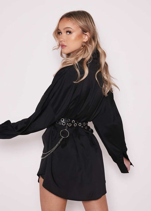 Puff Sleeve Button Down Cinched Waist Mini Shirt Dress black