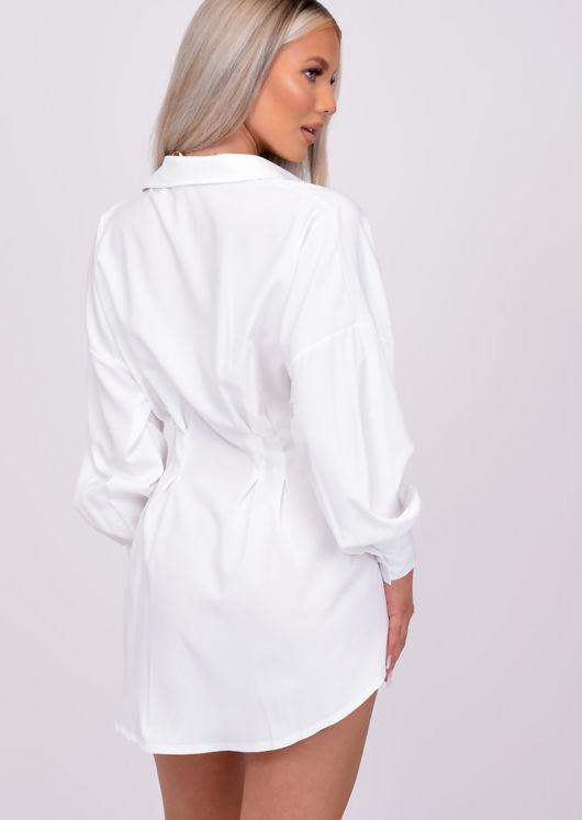 Puff Sleeve Button Down Cinched Waist Mini Shirt Dress White