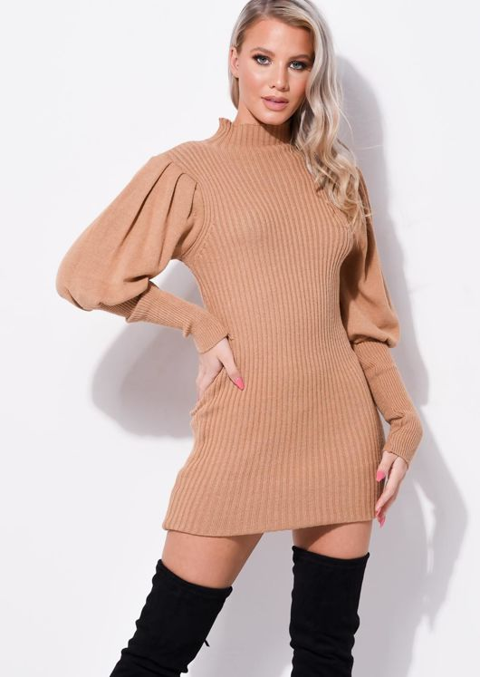 Puff Sleeve Ribbed High Neck Jumper Dress Brown