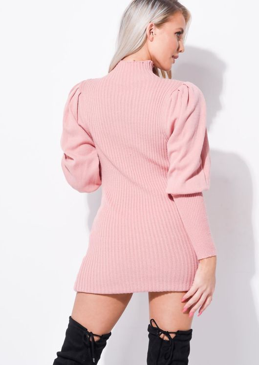 Puff Sleeve Ribbed High Neck Jumper Dress Pink