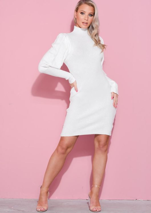Puff Sleeve Ribbed High Neck Jumper Dress White