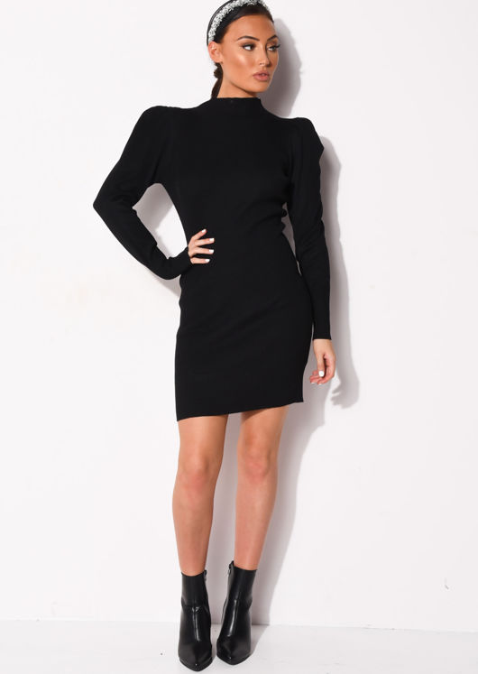 Puff Sleeve Ribbed Knit High Neck Jumper Dress Black