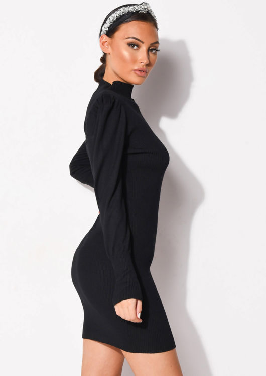 Puff Sleeve Ribbed Knit High Neck Jumper Dress Black