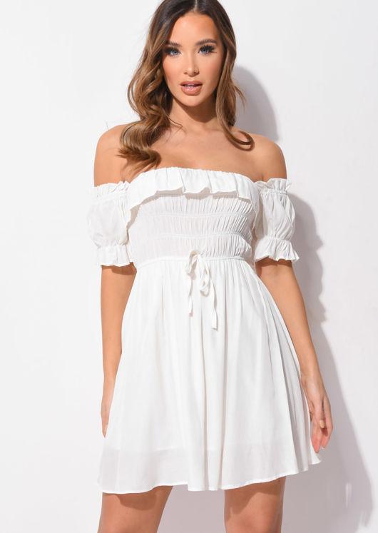Puff Sleeve Ruffle Shirred Mini Dress Beige