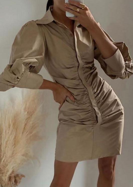 Puffed Long Sleeve Ruched Front Mini Shirt Dress Beige