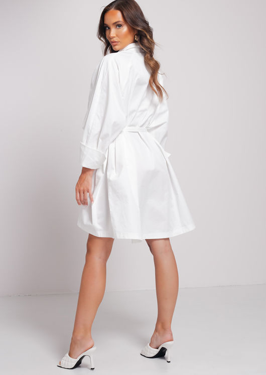 Puff Sleeves Button Down Oversize Belted Shirt Dress White
