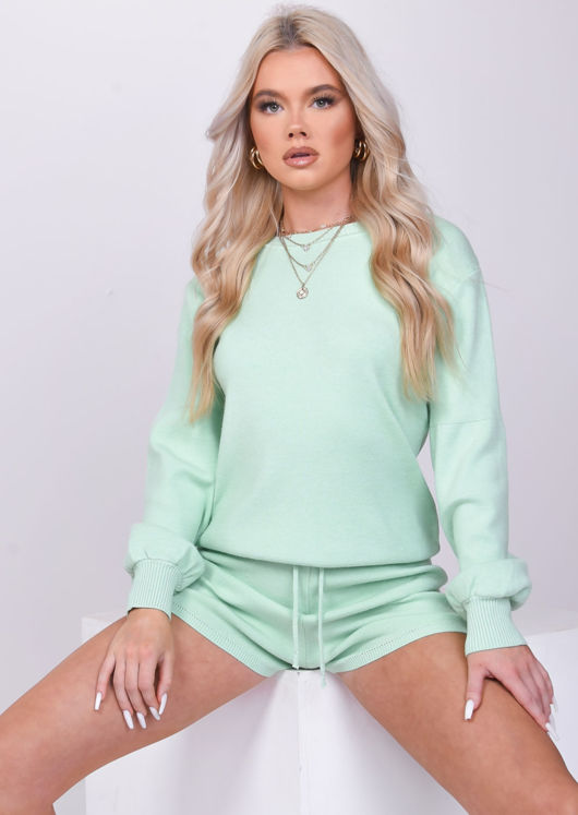 Knitted Puff Sleeves Drawstrings Sweater Shorts Loungewear Co Ord Set Green