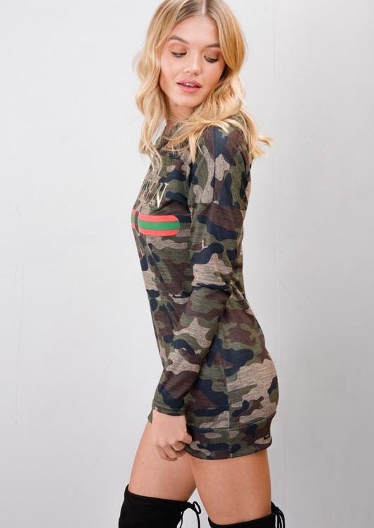 Queen Slogan Camouflage Hooded Longline Hoodie Green