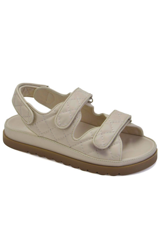 Quilted Adjustable Double Strapped Cleated Heel Sandals Beige