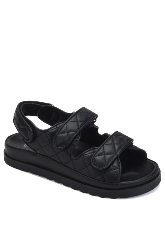 Quilted Adjustable Double Strapped Cleated Heel Sandals Black