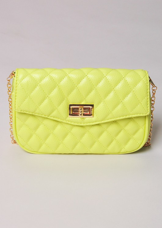 Quilted Cross Body Detachable Belt Bum Bag Yellow