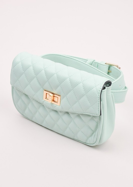 Quilted Cross Body Detachable Belt Bum Bag Mint Green