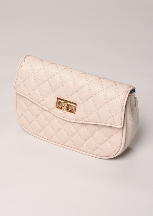 Quilted Cross Body Detachable Belt Bum Bag Nude