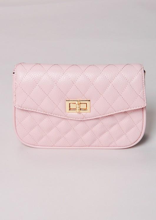 Quilted Cross Body Detachable Belt Bum Bag Pink