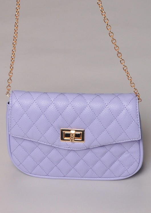 Quilted Cross Body Detachable Belt Bum Bag Purple