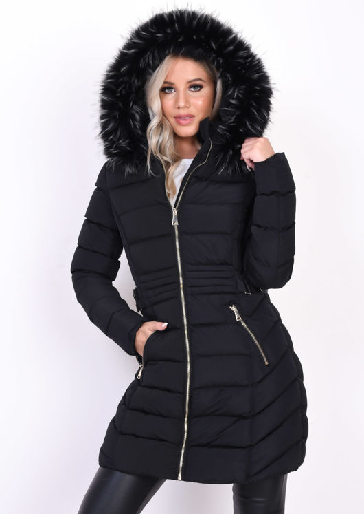 Quilted Faux Fur Hooded Belted Longline Puffer Coat Black
