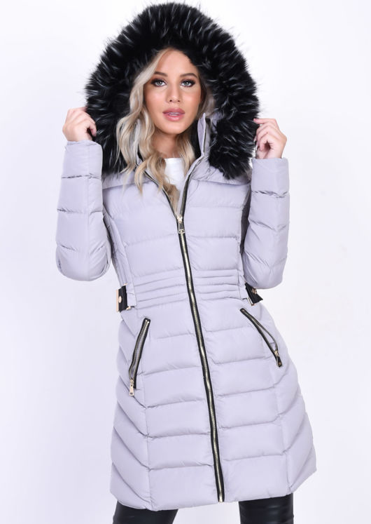 Quilted Faux Fur Hooded Belted Longline Puffer Coat Grey
