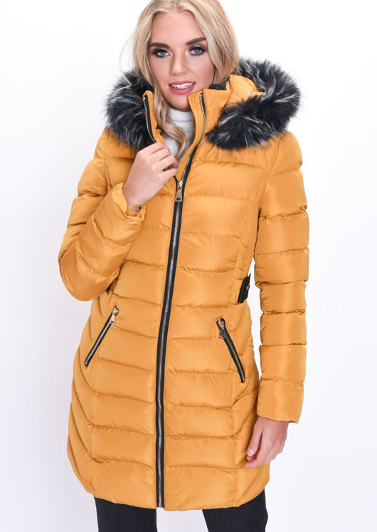 0878766e2 Quilted Faux Fur Hooded Belted Longline Puffer Coat Mustard Yellow