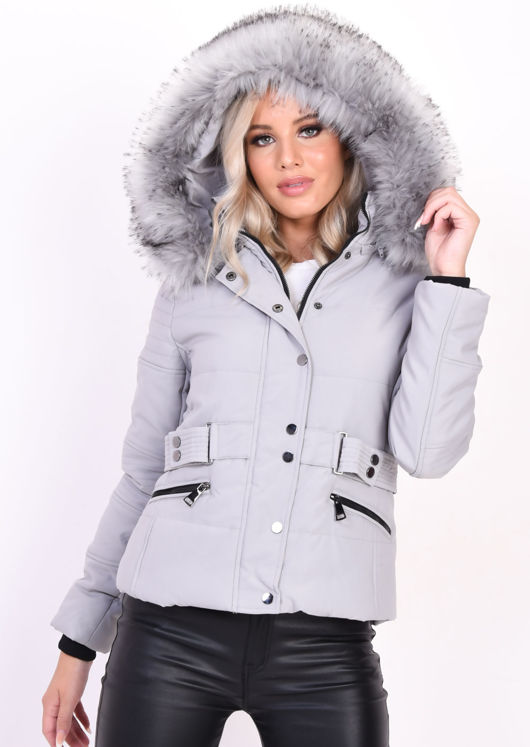 Quilted Faux Fur Hooded Belted Puffer Coat Grey