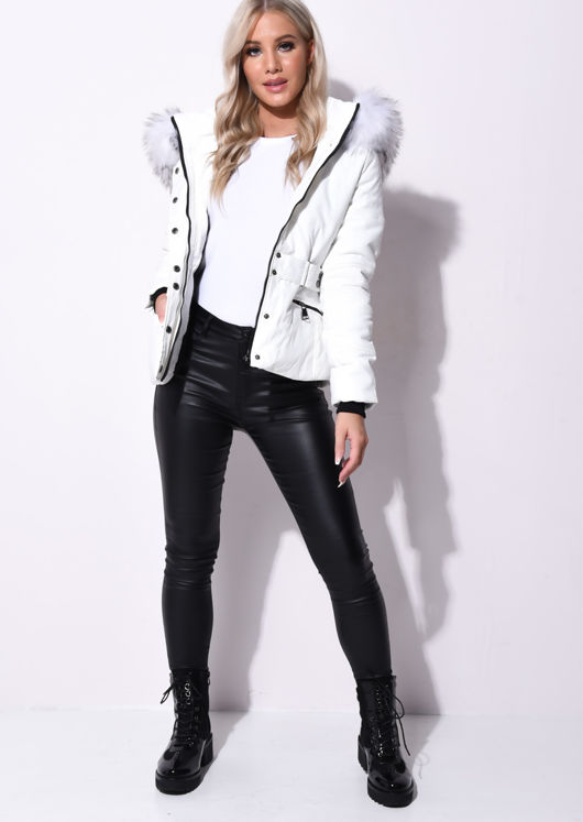 Quilted Faux Fur Hooded Belted Puffer Coat White