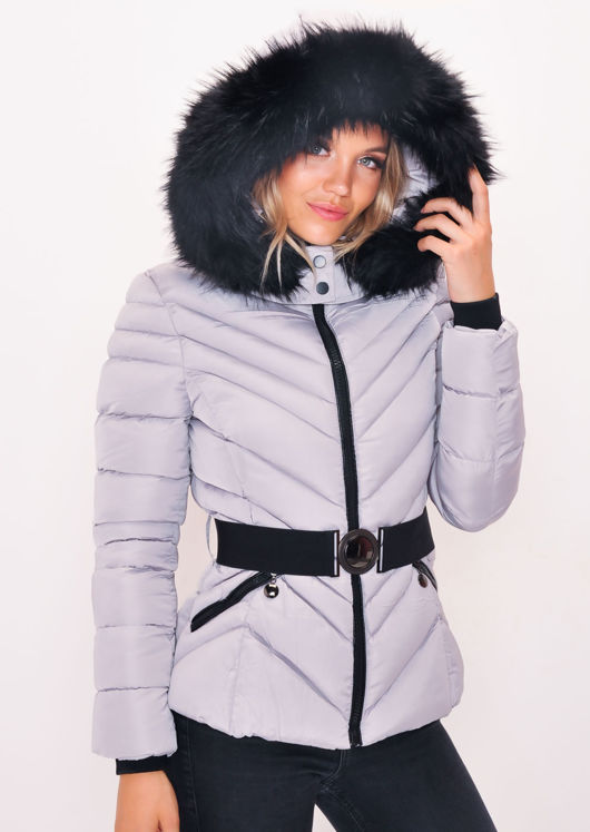 66ffad33a Quilted Faux fur Hooded Padded Belted Puffer Coat Grey