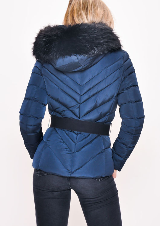 Quilted Faux fur Hooded Padded Belted Puffer Coat Navy Blue