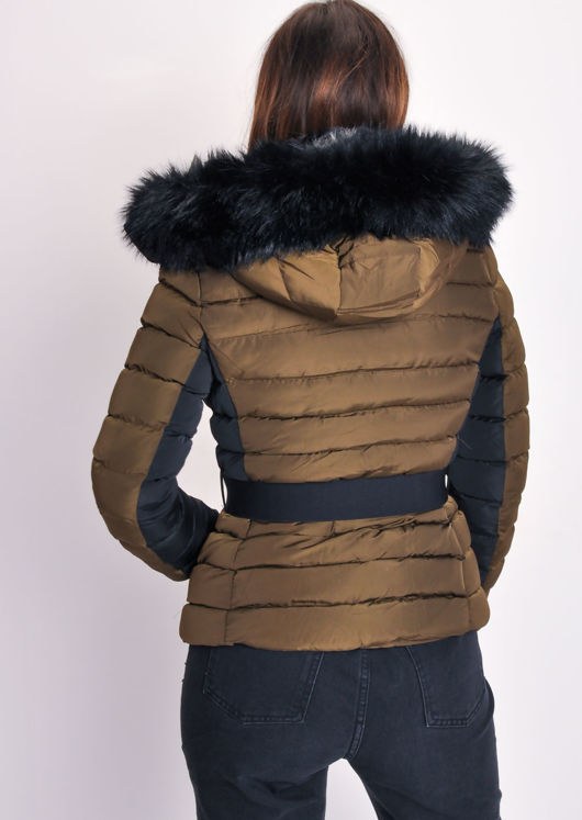 Belted Black Back Panel Padded Coat Khaki Green
