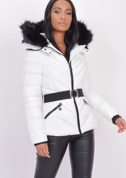 Quilted Faux fur Hooded Padded Belted Puffer Coat White