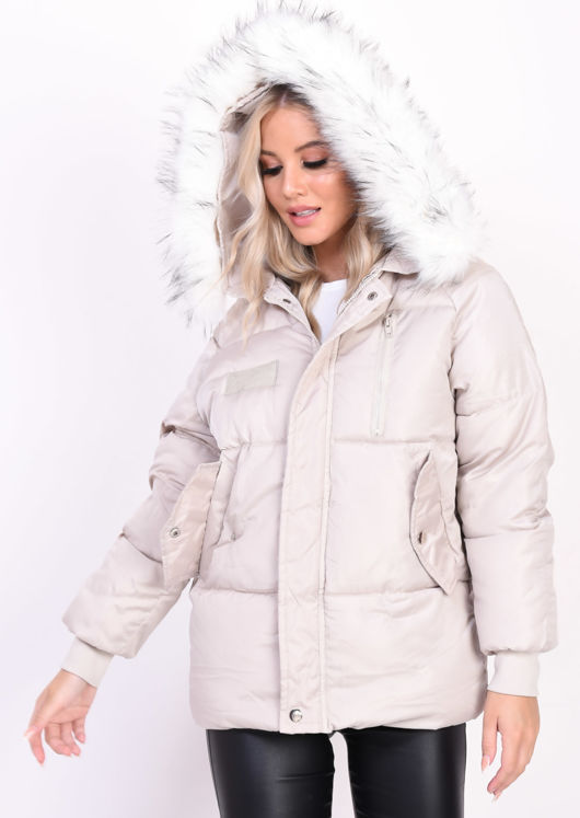 Quilted Faux Fur Hooded Padded Puffer Coat Beige